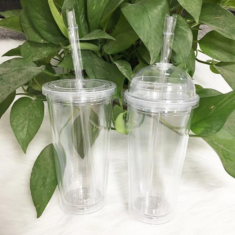 gobelet en acrylique avec couvercle en forme de dome de 20oz bouteille en plastique transparent a double paroi de voyage reutilisable cadeaux de