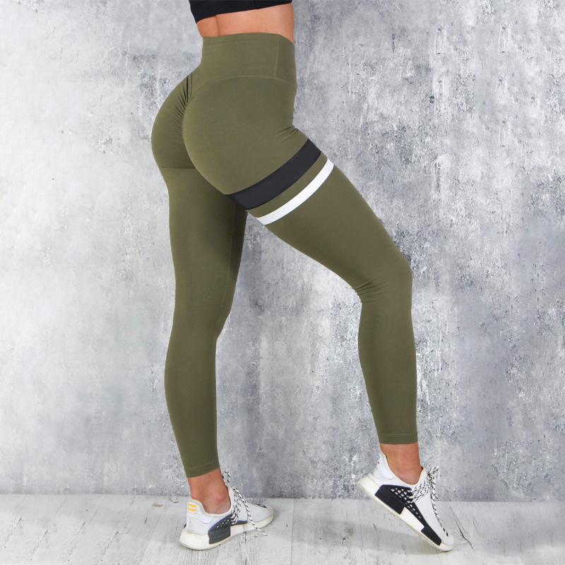 Women High Waist Fitness Leggings Striped Printed Fashion Female Army Green Push Up Spandex Pants Workout Leggings Plus Size