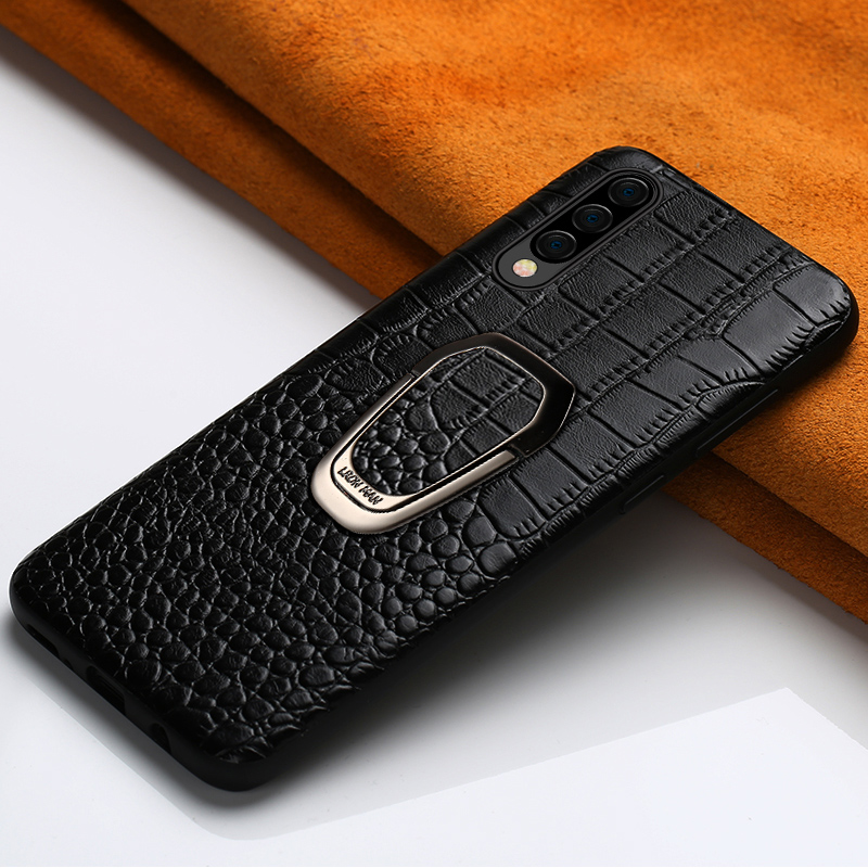 Genuine leather Magnetic case For <font><b>Samsung</b></font> Galaxy a50 a70 a40 a30 <font><b>A80</b></font> A51 A71 A9 a8 a7 2018 note10 plus Luxury ring bracket <font><b>cover</b></font> image