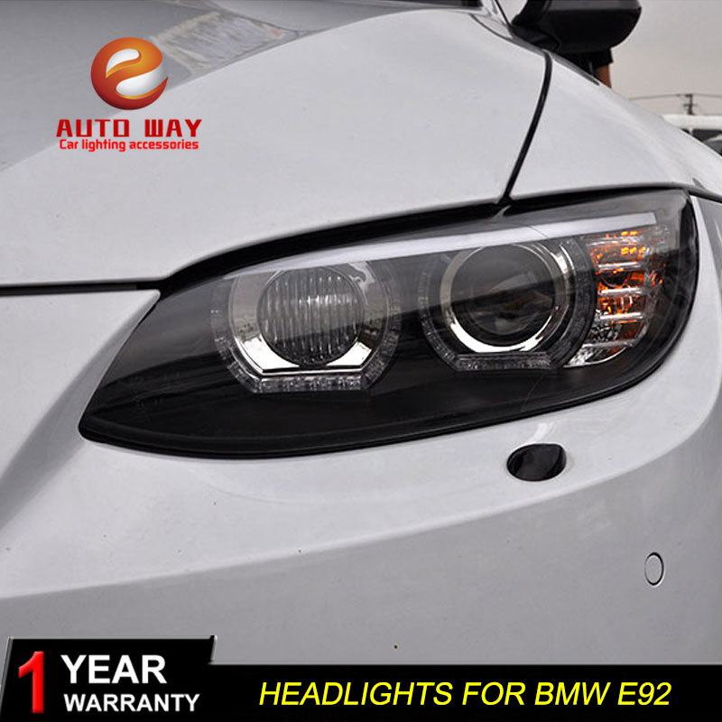 Boîtier de lampe frontale de style de voiture pour BMW M3 328i 335i 330i E92 E93 2006 2012 phares phare LED lentille DRL Double faisceau bi xénon - 3
