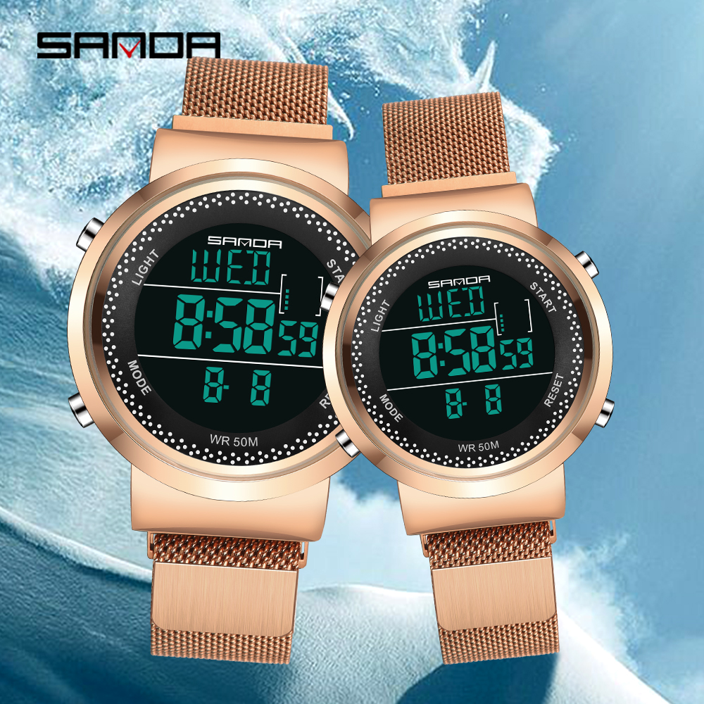 2019 Lover Watches Men Women Rose Gold Fashion Couple Dress Digital Watches Sports Clock Steel Mesh Waterproof Relogio Masculino