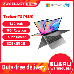 Teclast Newest Laptops F6 Plus 13.3 inch Notebook Gemini Lake 8GB LPDDR4 256GB SSD Windows 10 Laptop 360° Rotation Touch Tablet
