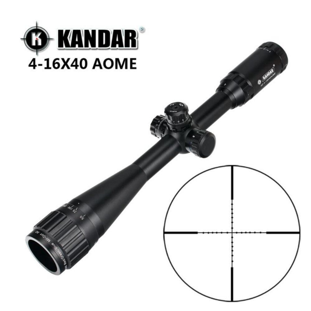 KANDAR 4-16x40 AOE Mil-dot Reticle RifleScope Locking Resetting Full Size Hunting Rifle Scope Tactical Optical Sight