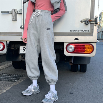HOUZHOU Sweatpants Women Korean Style Track Pants for Women Joggers Female Sweat Pants Embroidery Trousers Women Streetwear цена 2017