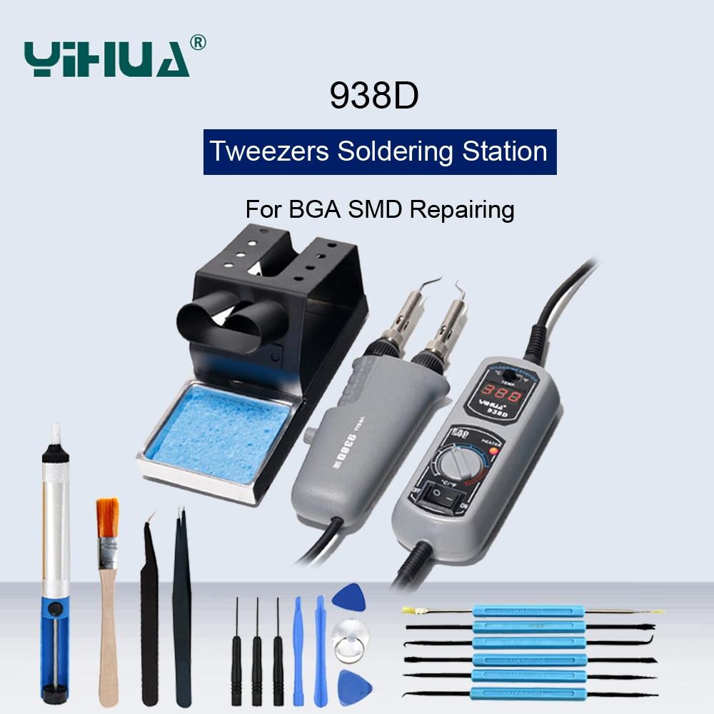YIHUA 938D Portable Hot Tweezers Mini Soldering Iron Station For BGA SMD Repairing Hot Tweezer Iron Station Welding Repair Tools