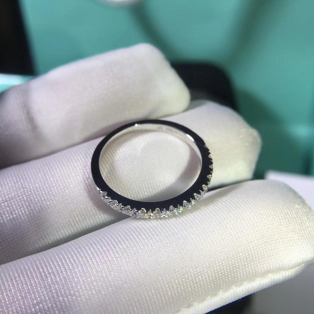 925 bague en argent sterling Moissanite laboratoire diamant demi-éternité bague de fiançailles correspondant à la bague pour les femmes