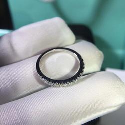 S925 ayar gümüş Moissanite yüzük Lab elmas yarım aşk yüzüğü nişan eşleştirme Band yüzük kadınlar için
