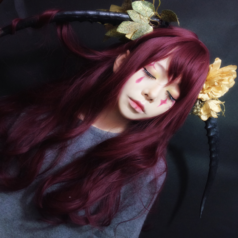 Original Lolita Cosplay Wigs High-temperature Fiber Synthetic Hair 65cm 25inches Red Wine Long Big Wave Curly Hair+free Hair Cap