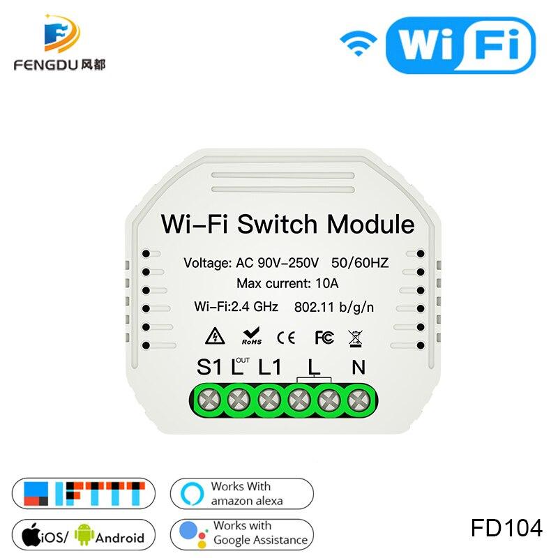 1 Way Wifi Smart Light Switch Diy Relay Module Smart Life/Tuya APP Wireless Remote Control Works With Alexa Echo Google Home