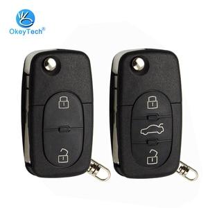 OkeyTech 2/3 Button Flip Folding Car Key Shell Cover Case Fob CR1620 CR2032 Battery Holder HAA For Audi TT A2 A4 A6 A8 Quattro(China)