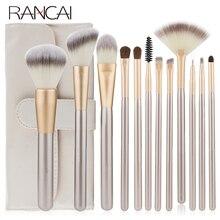 RANCAI عالية الجودة ماكياج فرش مجموعة 12 قطعة الأساس مسحوق استحى مظلل العين (آي شادو) أدوات مع حقيبة جلدية