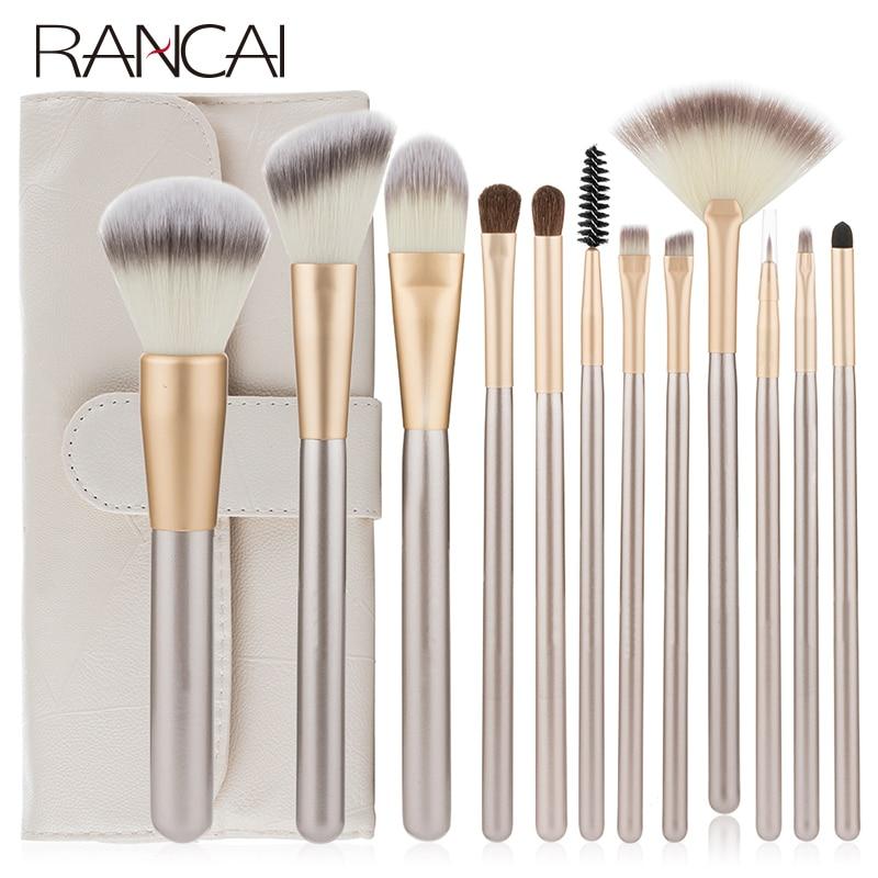 RANCAI 12pcs Makeup Brushes Set crochas maquillaje Green Large Loose Powder High Gloss Eyeshadow Foundation Contour SynthetiHair
