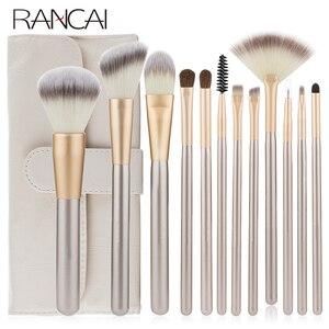 Image 1 - RANCAI Hohe Qualität Make Up Pinsel Set 12 stücke Foundation Powder Blush Lidschatten Kosmetische Werkzeuge Mit Leder Tasche