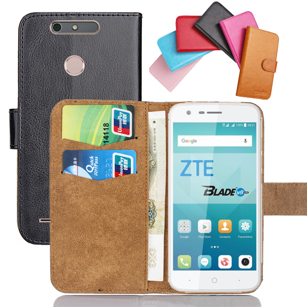 Чехол для телефона ZTE Blade V8 Lite, мягкий кожаный флип-чехол 5 дюймов, 6 цветов, чехол с подставкой и бумажником для кредитных карт
