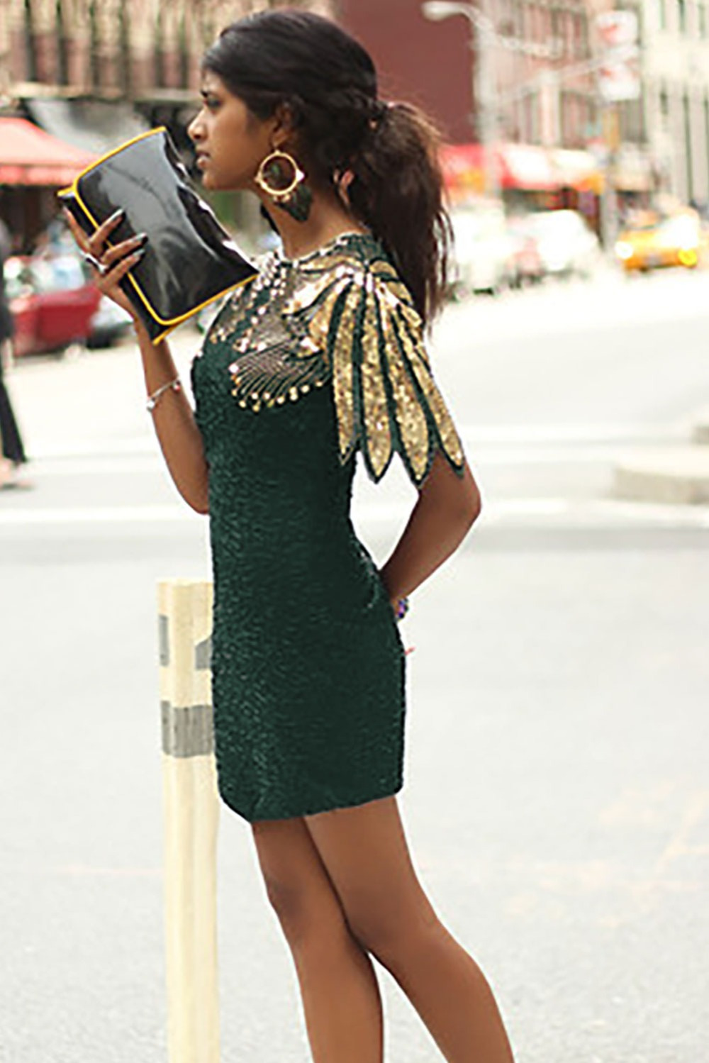 Women Sequined Shoulder Cocktail Party Ball Gown Bodycon Sheath Midi Dress