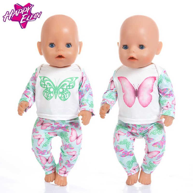 Moda mariposa Surit Wear para 43cm Zapf Baby Doll 17 pulgadas Born bebés muñecas ropa y accesorios