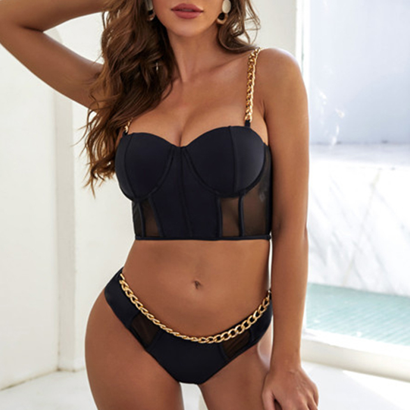 Sexy Metal Chain Female Swimsuit High Waist Bikini 2020 Women Push Up Swimwear Vintage Bikini Set Bathing Suit Summer Beach Wear