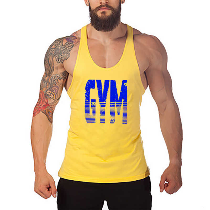 Brand Bodybuilding and Fitness Clothing Cotton sleeveless shirts tank top men Stringer Singlets mens Y back workout gym vest