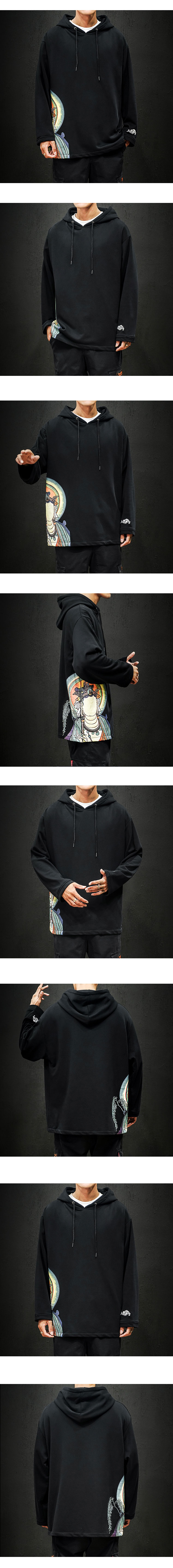 Solid Causal Hooded Sweatshirt