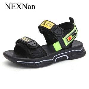 NEXNan/летние сандалии для мальчиков; Детская обувь; Дышащие пляжные детские сандалии; Обувь для девочек с закрытым носком; Школьная обувь с вы...