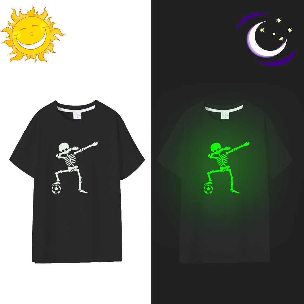 Hip Hop Fluorescent Sepak Bola Colek Kerangka Pria T-shirt Punk Hitam Kemeja Luminous Pria Tengkorak Kaos Glow In Gelap Tees