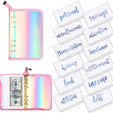 13 Pieces Rainbow Soft PVC Notebook Cover Binder Budget Envelopes System Budget Planner Organizer Cute 6-Ring Binder for Bills