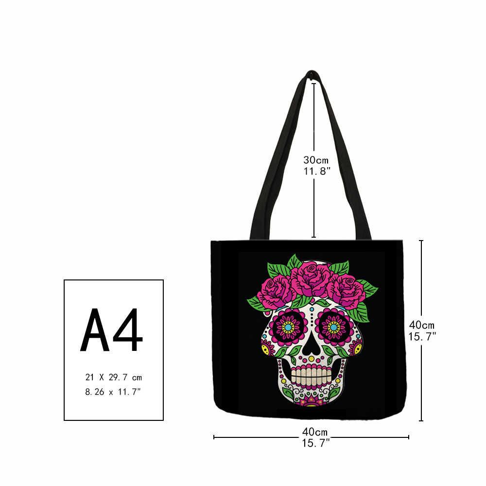 Сумка Torebki Damskie для женщин и мужчин, практичная сумка для Хэллоуина, страшная смайлическая, с цветком и черепом