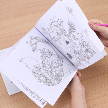 1PC School Office Book Enchanted Forest 24 Pages Hand Painted Graffiti Coloring Books of the Relieve Stress Painting Book