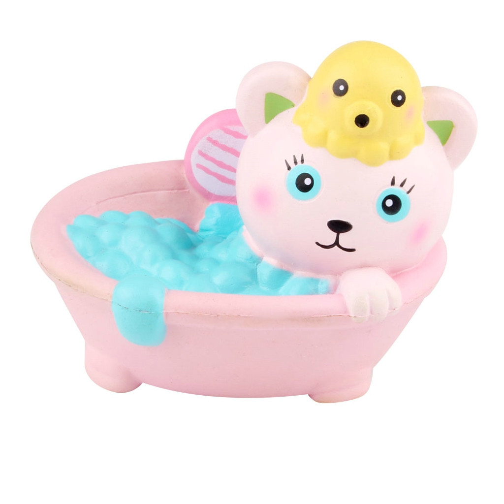 Stress Reliever Cute Bathing Cat  Slow Rising Kids Squeeze Toy Antistress Squishy Soft PU Toys Cartoon Decoration Doll #B