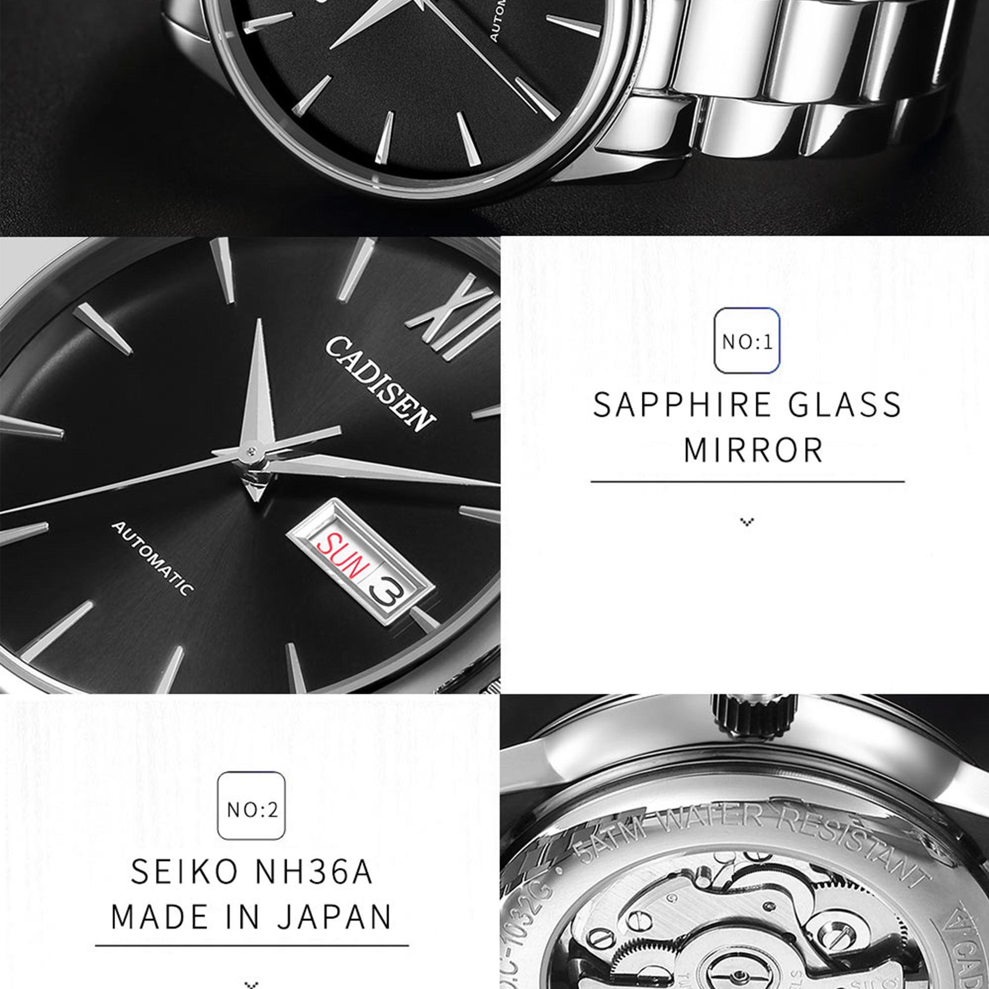 Ha6611a68fcd4427c8cf937eeb3303ce85 CADISEN Men Watch Automatic Mechanical Watches Role Date Week Top Luxury Brand Japan NH36A Wrist watch Clock Relogio Masculino