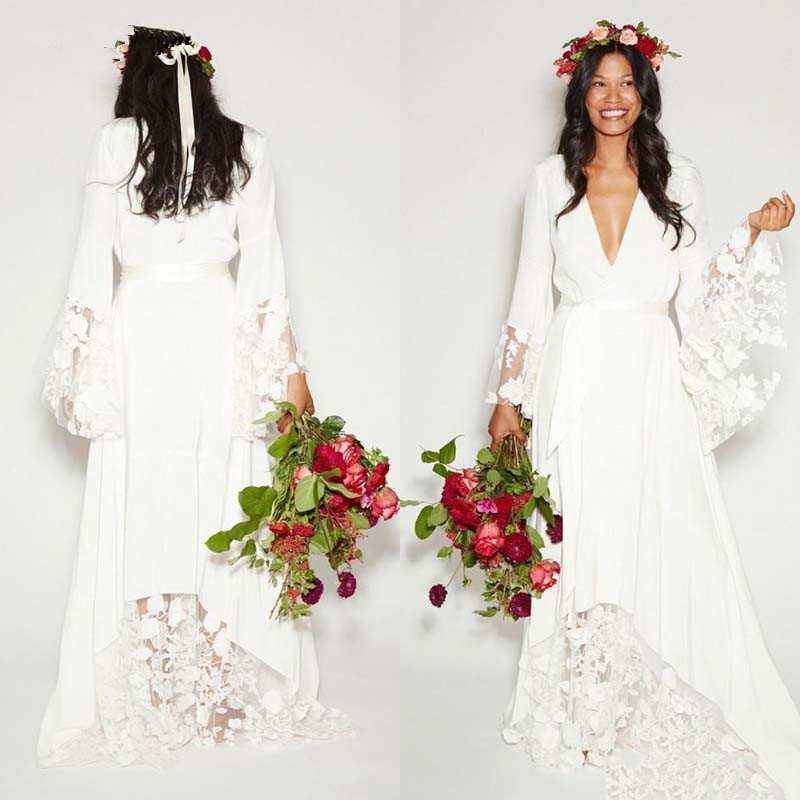Simple Bohemian Long Sleeves Deep V Neck Hippie Beach Wedding Gown Plus Size Wedding Dresses