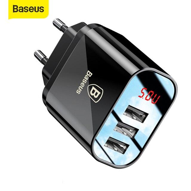Baseus 3 Ports USB Ladegerät Schnell Lade 3,4 EINE Wand Ladegerät EU Stecker Mit Digital Display Reise Schnelle Ladegerät Für samsung Huawei