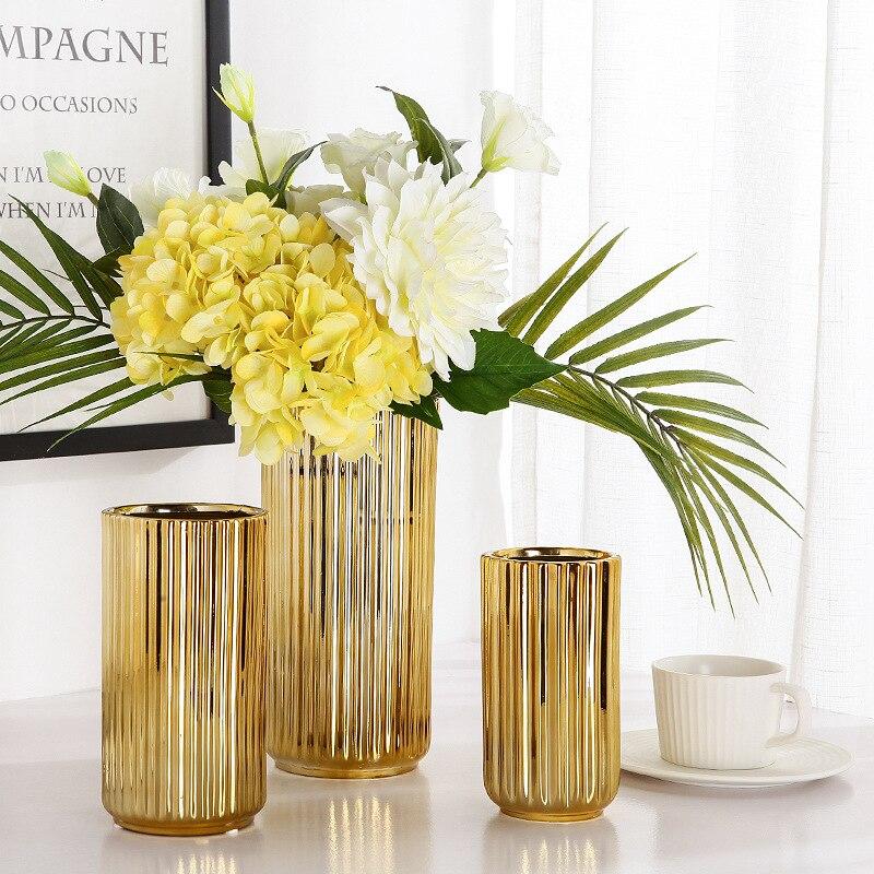 Flower Vases Ceramic Gold Plating Ceramic Vase flower pot Gold Home Decoration Accessories Tools modern home decor vase