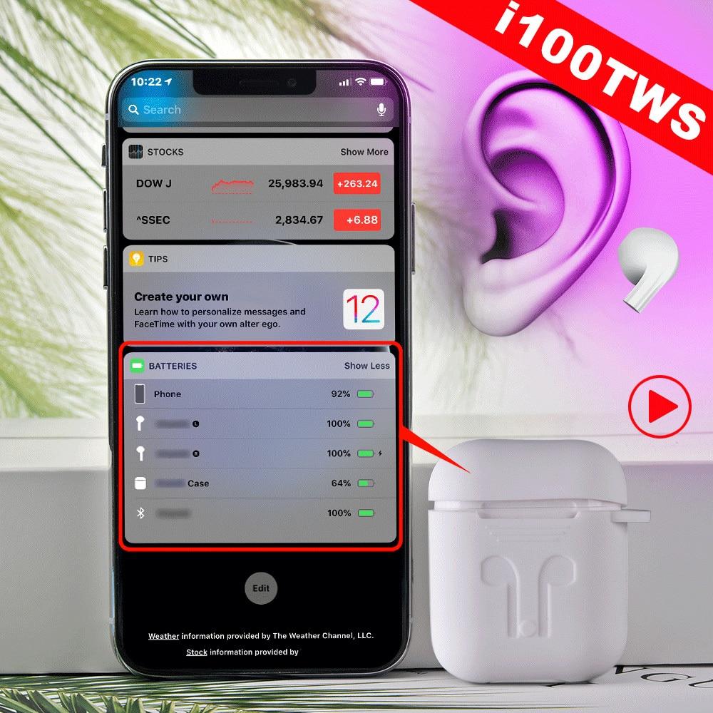 Upgrade I100 TWS In-ear Detection Smart Sensor Bluetooth Wireless Earphone Original Pop Up 1:1 Bass Headset PK I500 I200 I80 TWS