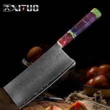 XITUO سكين المطبخ الصيني دمشق الصلب 67 طبقة سكين الطاهي الساطور حاد تقطيع الخضار أدوات الطبخ المنزلية مقبض اللون