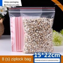 Ziplock Bag Transparent Plastic Bag PE Plastic Packaging Bag Thickened 15X22cm Fresh-Keeping Self-Sealing Food Plastic Bag100PCS