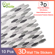 10pcs 3D Wall Sticker Marble mosaic Brick Self-Adhesive Waterproof paper for Kitchen Bathroom Home DIY Stickers
