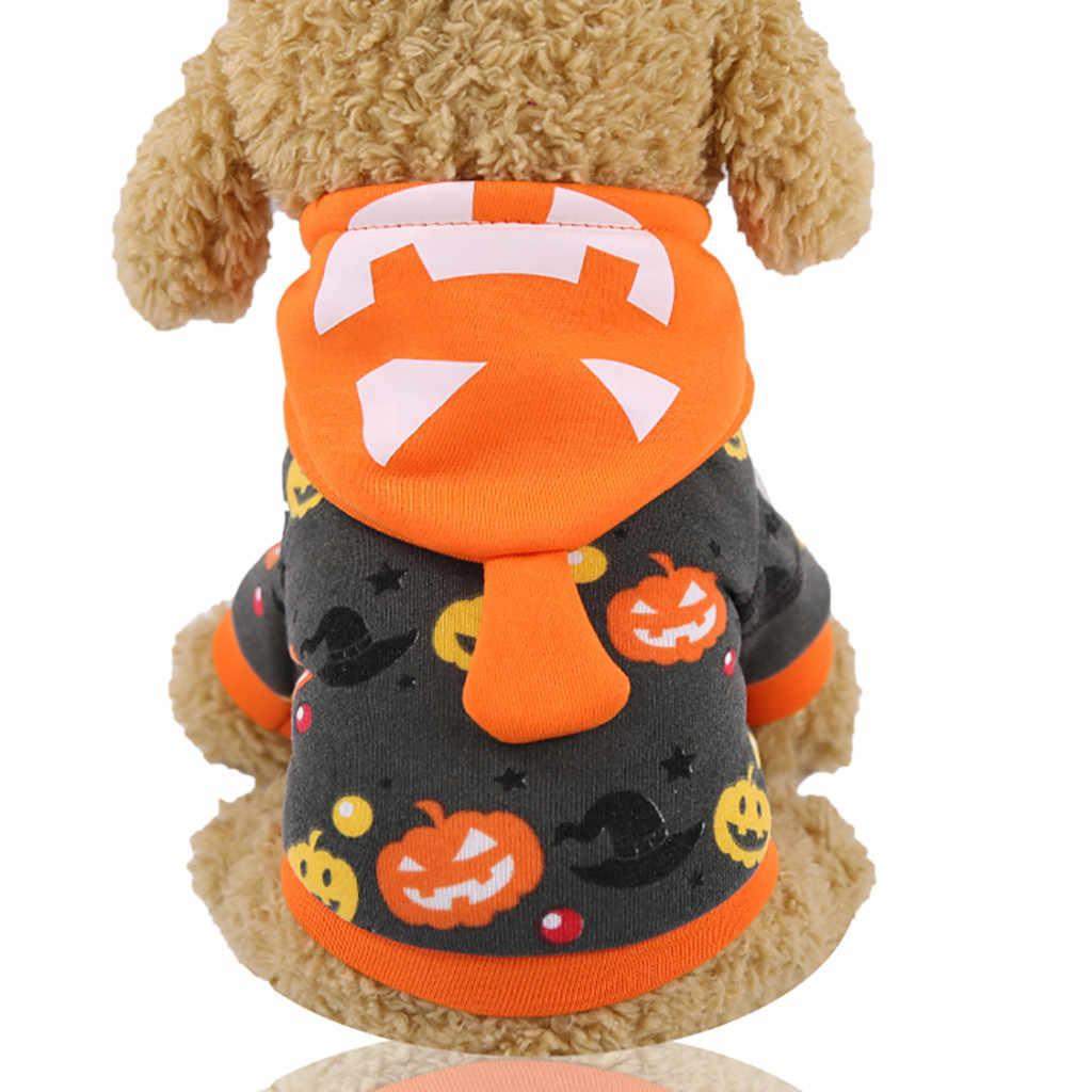 Nieuwe Pet Puppy Dog Hoodie Sweatshirt Halloween Pompoen Print Herfst Winter Fashion Leuke Comfortabele Dikker Apparel Warm Yh