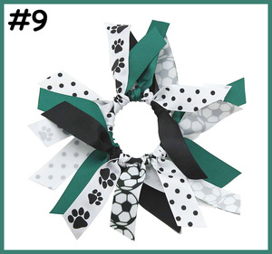 Image 2 - free shipping 10pcs soccer ribbon hair scrunchies ponytail holder Gymnastics Hair Tie  Dance Pony   pony hair ties sport bows