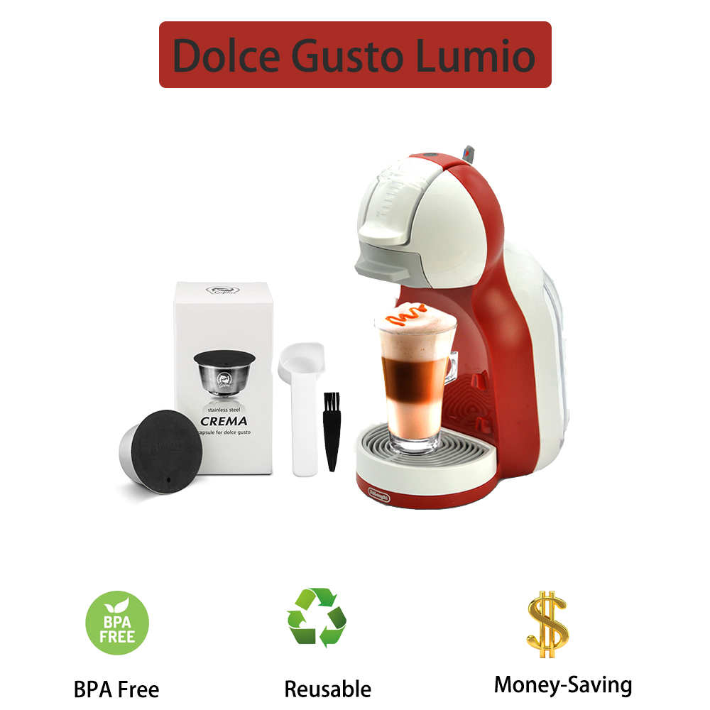 Lumio Reusable Coffee Capsule Cup Compatible For Nescafe Dolce Gusto Refillable Filter Stainless Steel Body Original Design Lid
