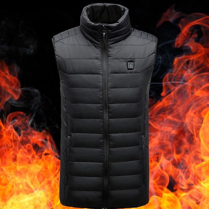 Smart Self-heating Vest Men's 2018 New Style Warm Down Feather Cotton Waistcoat Coat Smart Fever USB Heating Men's