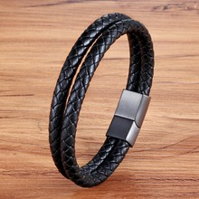 Unisex accessories birthday gift jewelry personality leather bracelet double black bracelet(China)