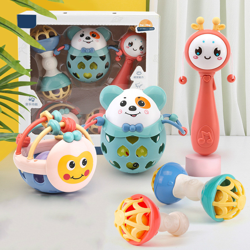 5 pièces dessin animé bébé anneau de dentition jouets éducatifs Mobiles bébé hochet à la main jouet ensemble anneau de dentition enfant en bas âge Puzzle jeu de dents