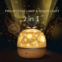 Proyector de luz nocturna con Cable USB, lámpara de proyección giratoria estrellada y romántica para niños, adultos, dormitorio, regalo de Navidad