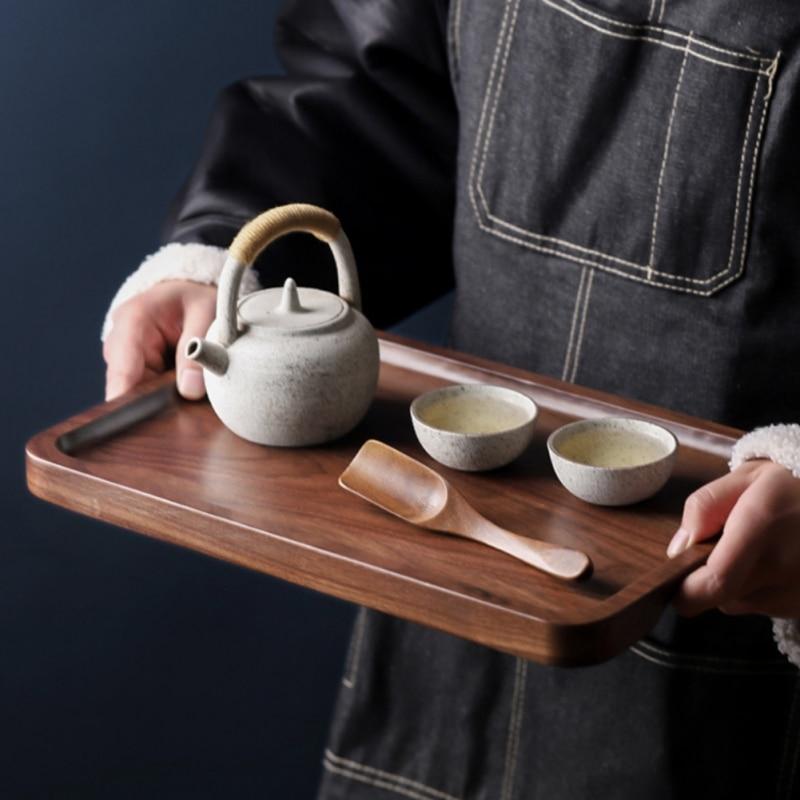 Квадратная/круглая тарелка для хранения деревянные подставки лоток для напитков с функцией хранения воды Природный поднос из ореха кухонная посуда-1