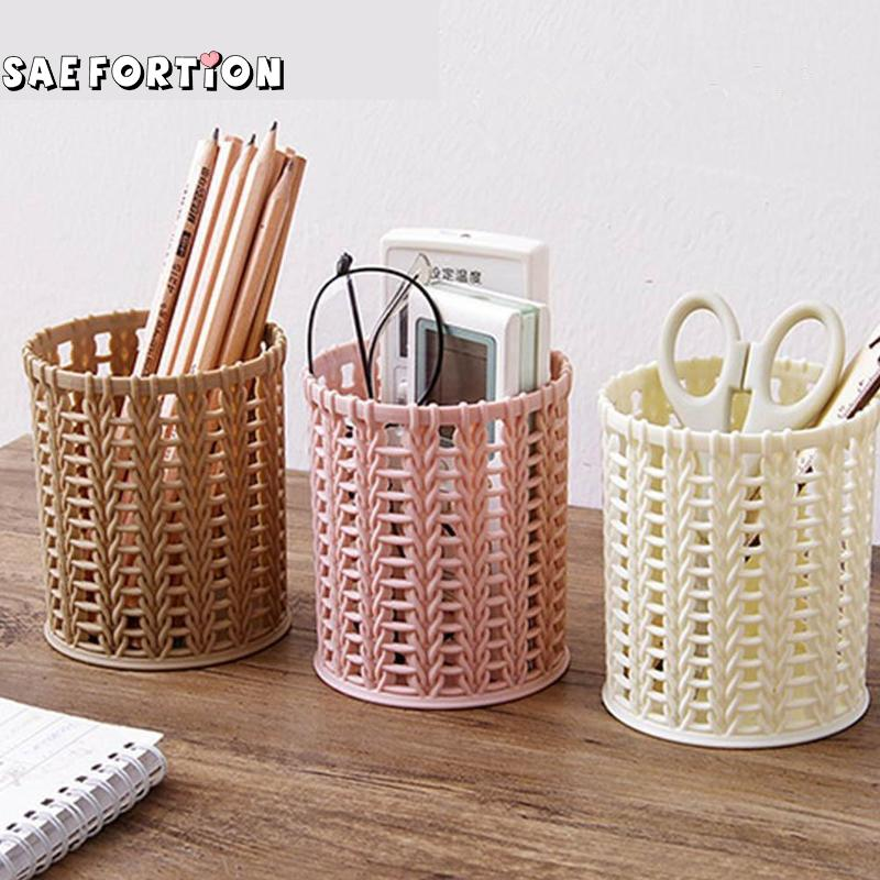 Pen-Holder Storage-Tube Rattan Plastic Small Round Office Creative Student Hollow-Proof