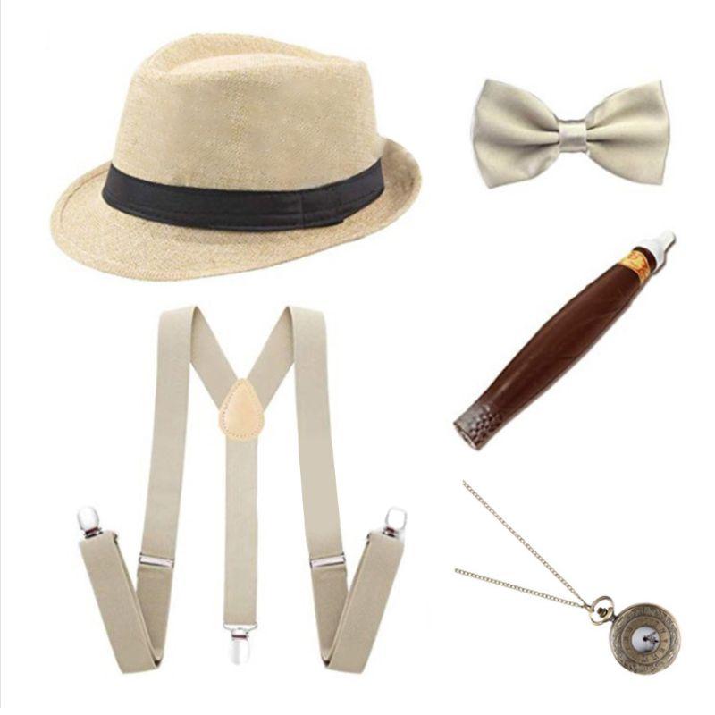 1920s Mens Cosplay Gangster Costume Accessories Set Manhattan Hat Suspenders Pre-Tied Bow Tie Fake Plastic Cigar Pocket Watch