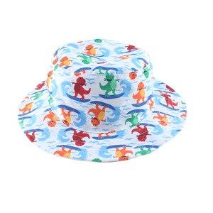 Детская Солнцезащитная шляпа с принтом динозавра из мультфильма, Детская летняя пляжная шапка с защитой от ультрафиолета, Панама для мален...