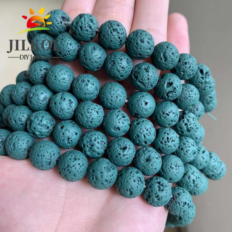 1String Natural Stone Lava Rock Round Beads Spacer Jewelry Making DIY 4//6//8//10mm