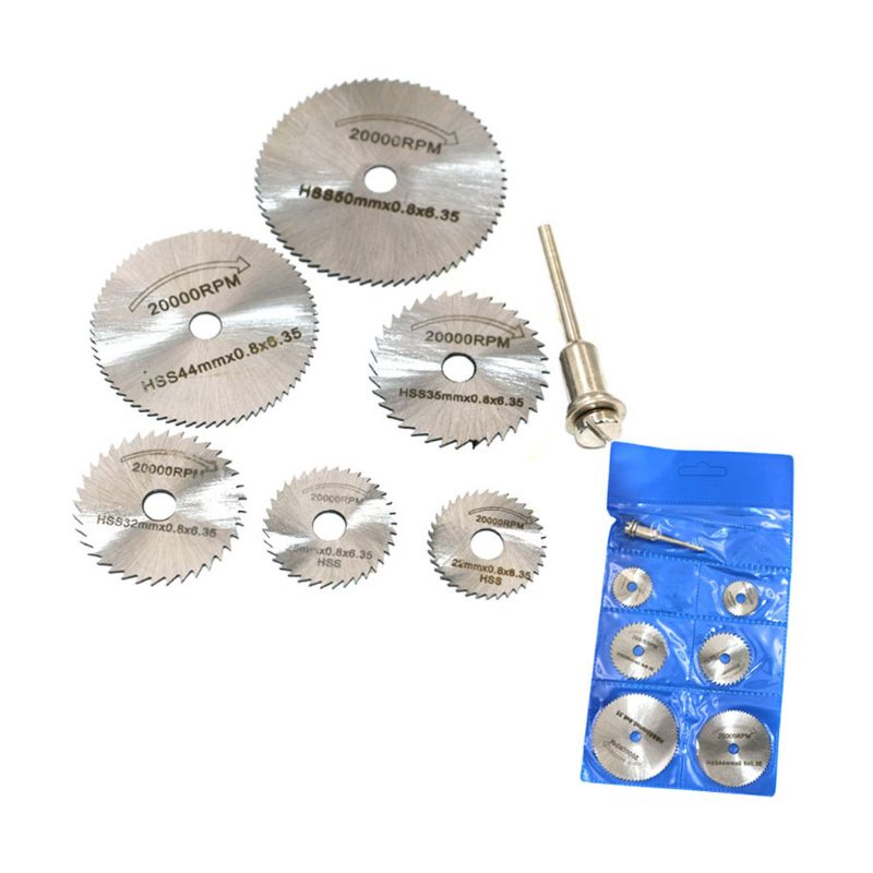 7pcs/set Mini High Speed Steel Saw Web Circular Rotary Cutting Blade Wheel Discs Mandrel Electric Grinding Accessories 57BB